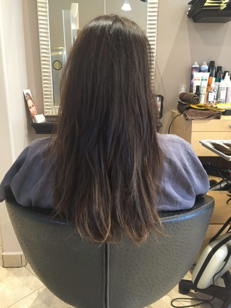 موهای مشتری قبل از اکستنشن مو
