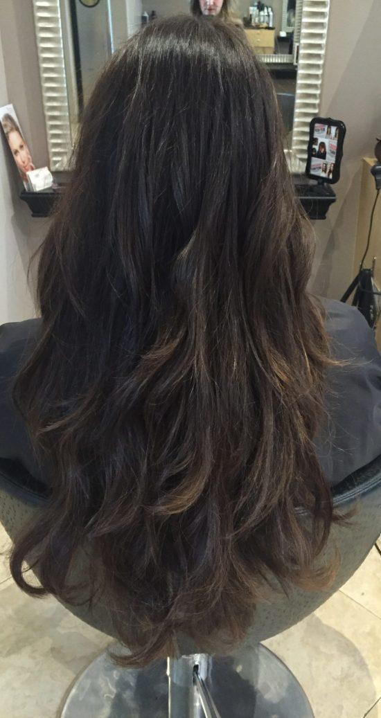 موهای مشتری بعد از اکستنشن مو