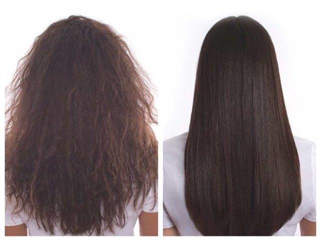 موهای مشتری قبل و بعد از احیای مو با کراتین